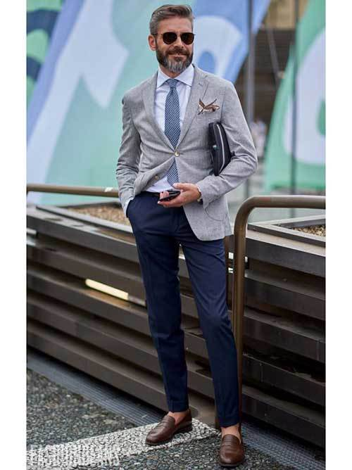 Business Blue Tie Outfits Male
