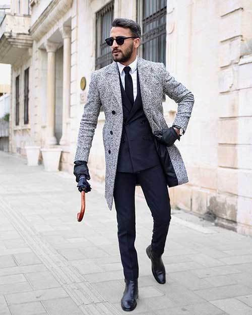 Business Topcoat Outfits Male