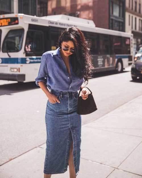 Denim Midi Skirt for Ladies