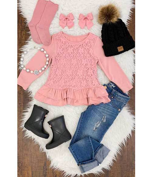 Little Girl Pink and Denim Outfits