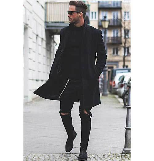 All Black Coat Outfits for Guys