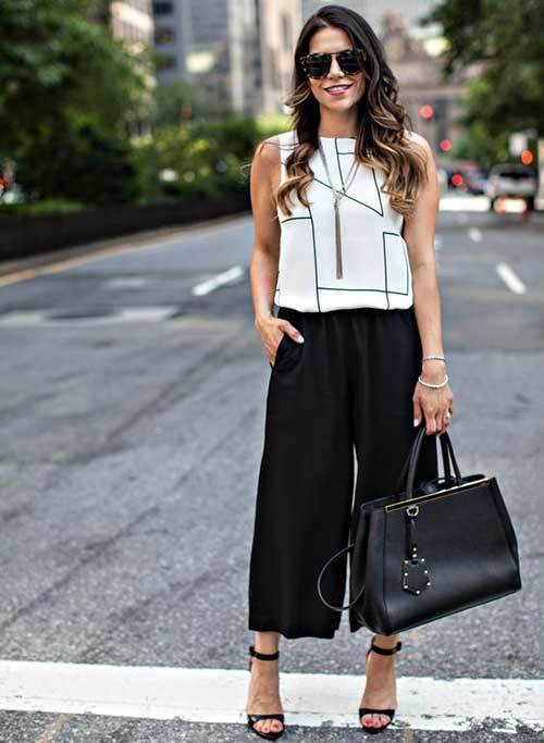 Black Wide Leg Summer Pants