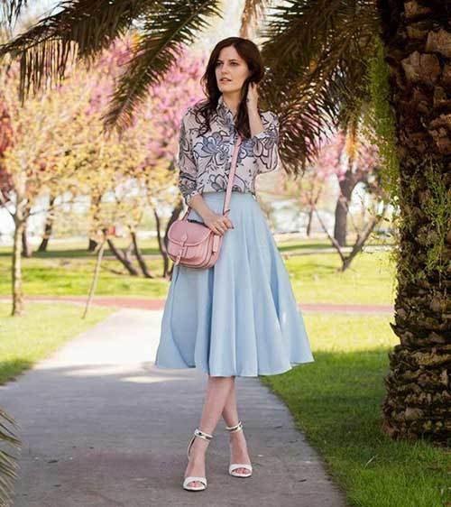 Blue Midi Skirt Outfit Ideas