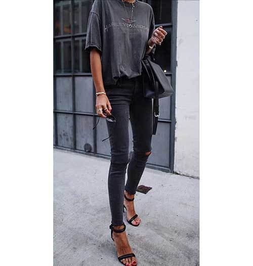 Casual Grey Denim Outfits