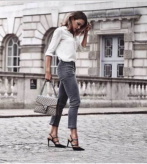 Dark Grey Denim Outfits