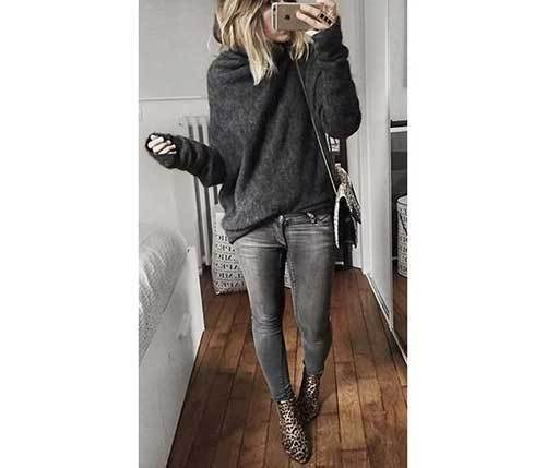 Grey Denim Winter Outfits
