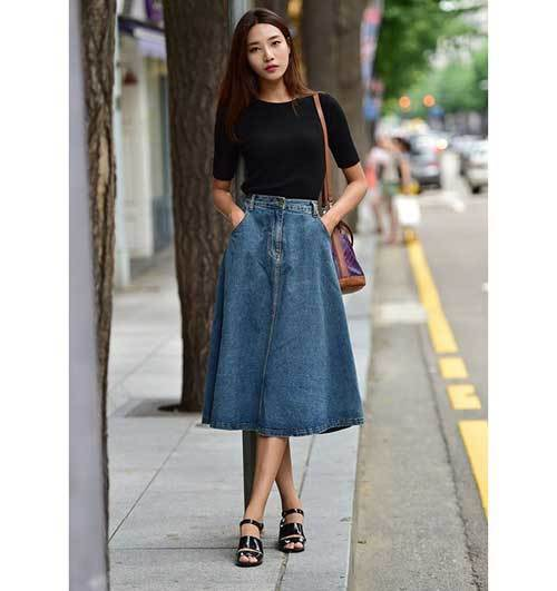 Midi Skirt Street Outfit Ideas