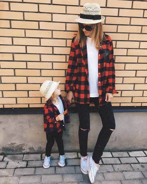 Mom and Daughter Matching Plaid Outfits