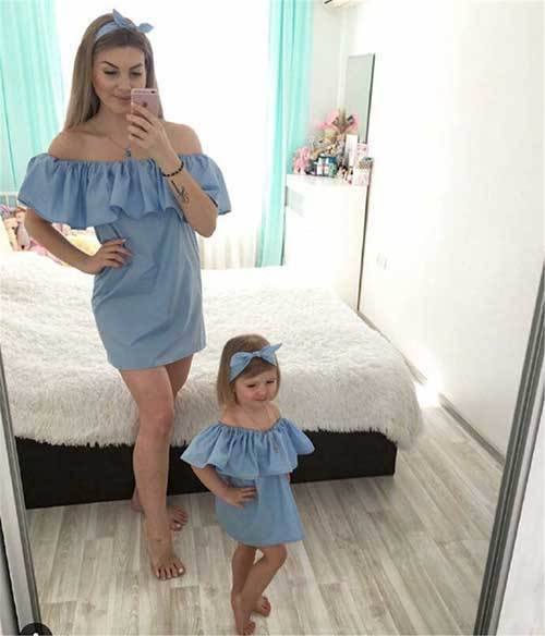 Mom and Daughter Matching Twin Dresses