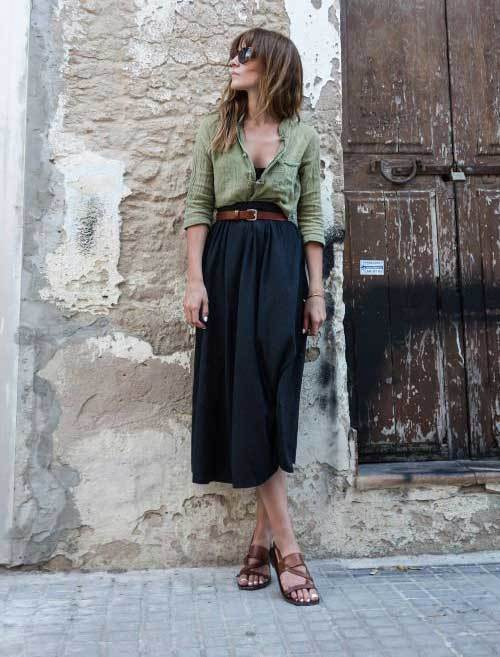 Outfits with Black Midi Skirt