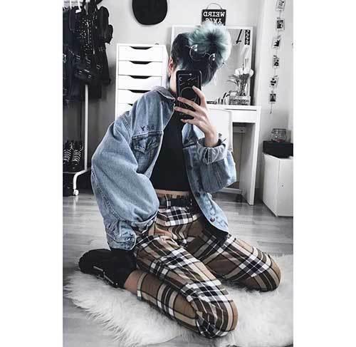 Denim Jacket Plaid Outfit Ideas