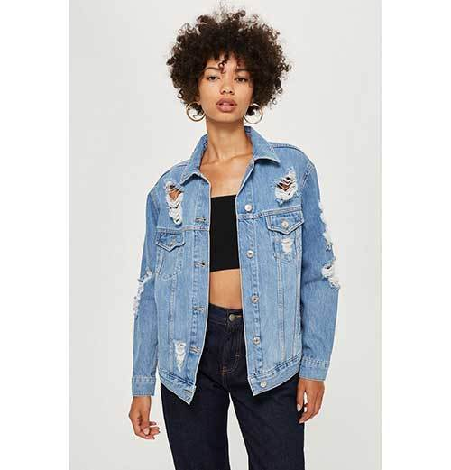 Ripped Denim Jacket Outfit Ideas