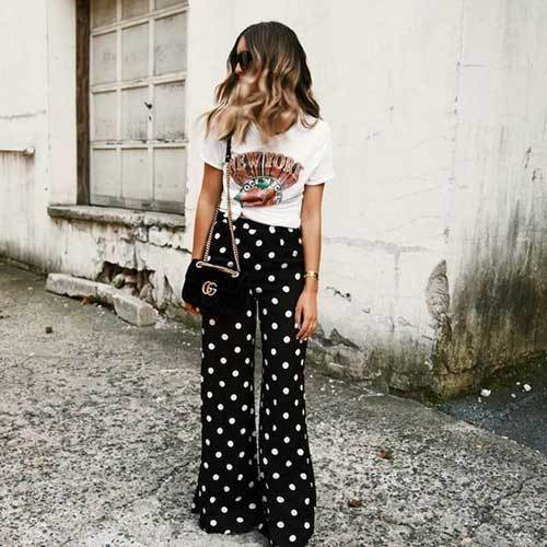 Polka Dot Wide Leg Summer Pants