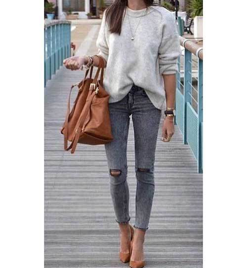 Ripped Grey Denim Outfits