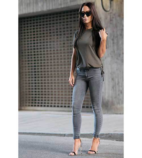 Skinny Grey Denim Outfits