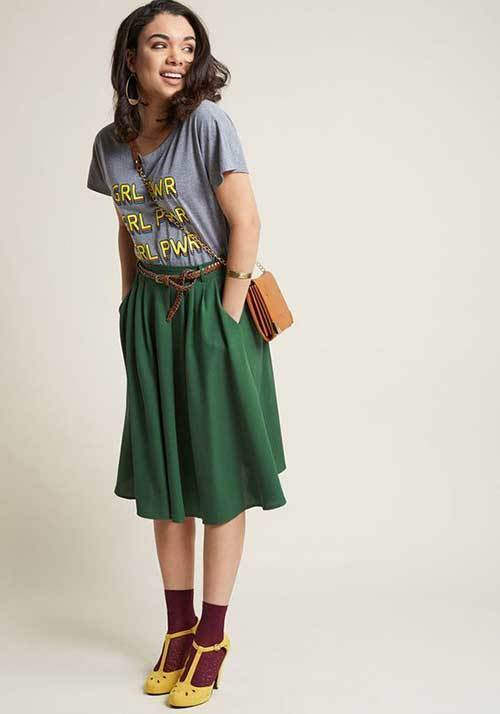 Vintage Midi Skirt Outfit Ideas