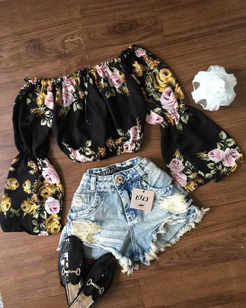 Black Off Shoulder Outfit Ideas