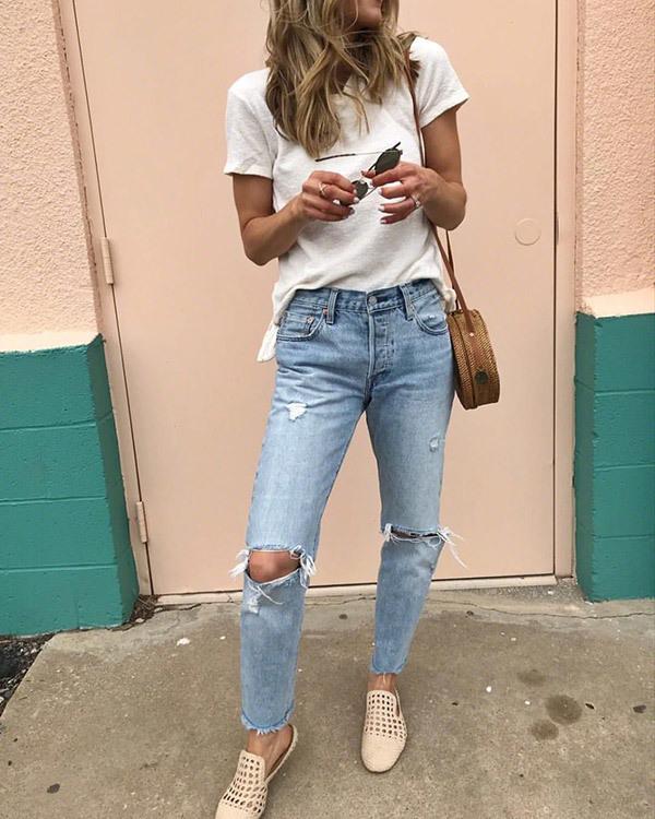Boyfriend Jeans Street Outfit Ideas