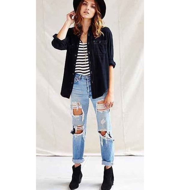 Boyfriend Jeans Urban Outfit Ideas