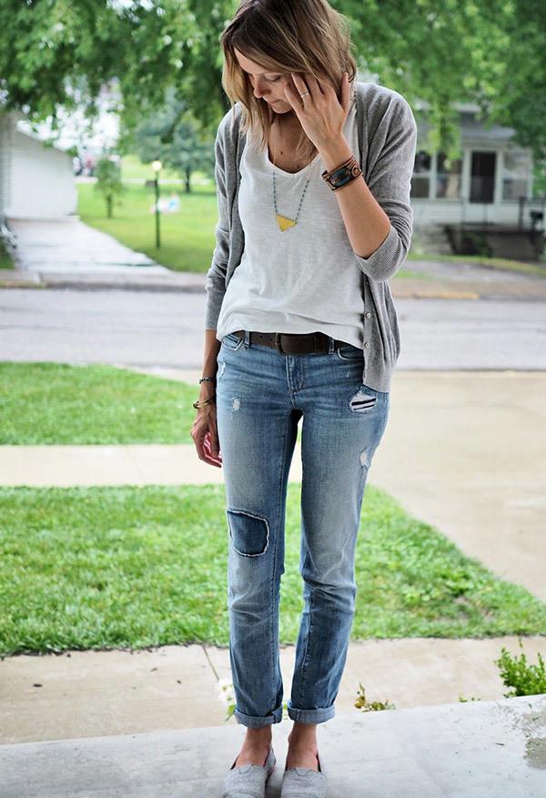 Boyfriend Jeans Work Outfit Ideas
