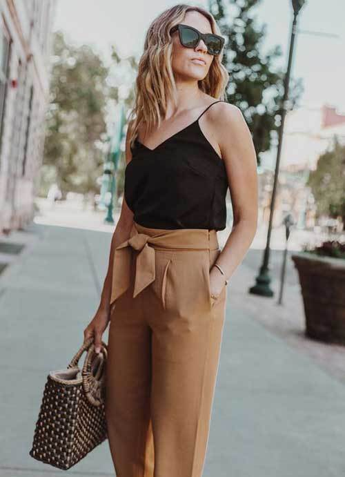 Casual High Waist Pants Outfit Ideas