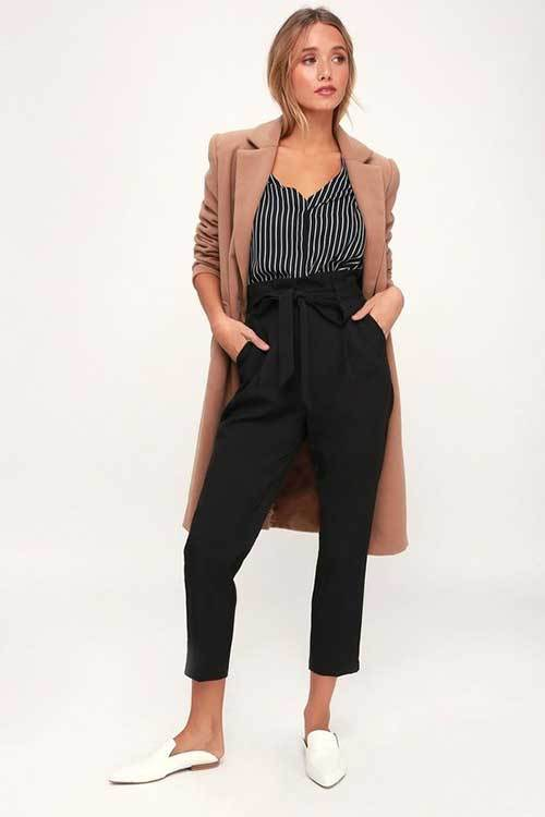 High Waist Paperbag Pants Outfit Ideas