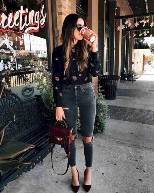 High Waist Ripped Pants Outfit Ideas