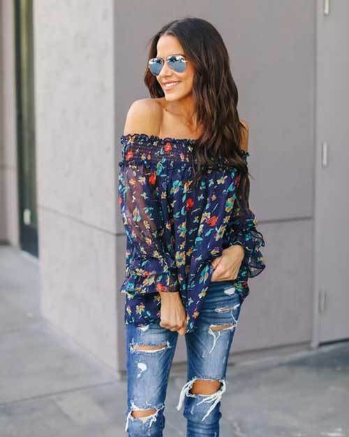 Off Shoulder Street Outfit Ideas