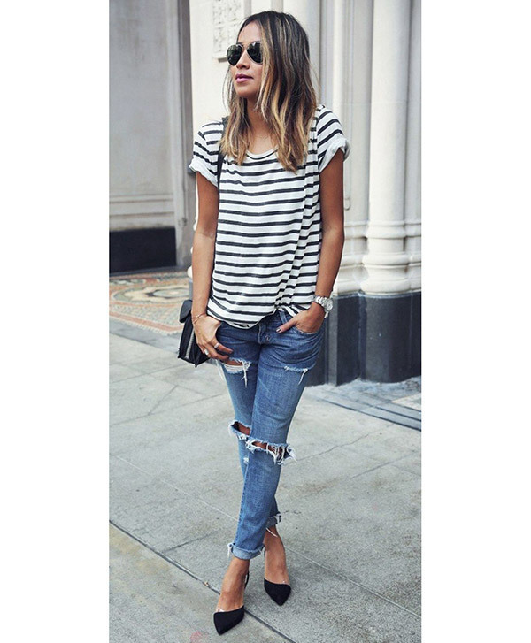 Ripped Boyfriend Jeans Outfit Ideas