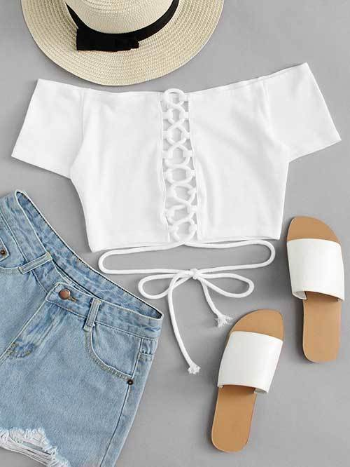 White Off Shoulder Outfit Ideas