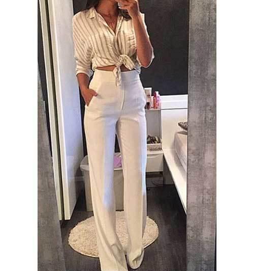 Wide Leg High Waist Pants Outfit Ideas