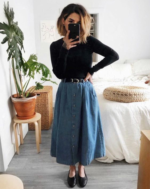 Blue Denim Skirt Outfits