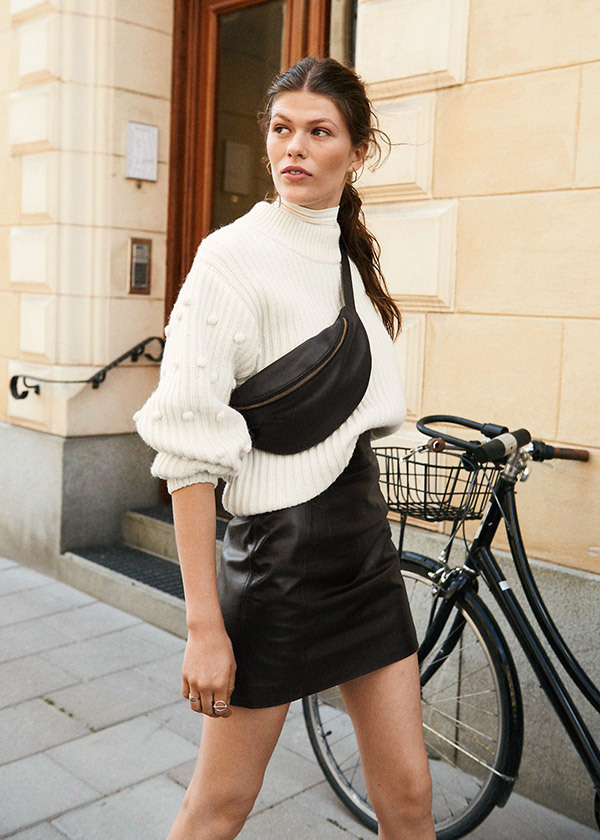Casual Leather Skirt Outfits