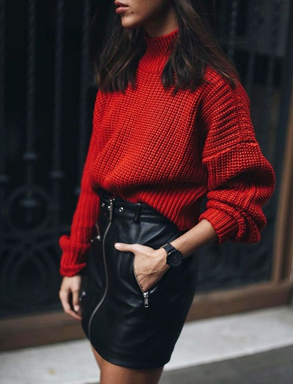 Chic Leather Skirt Outfits