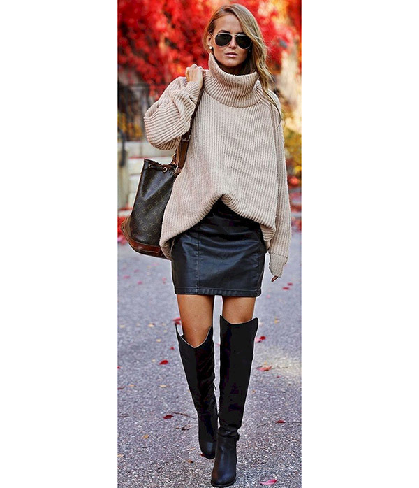 Cozy Leather Skirt Outfits