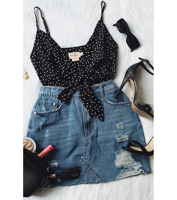Cute Denim Skirt Outfits