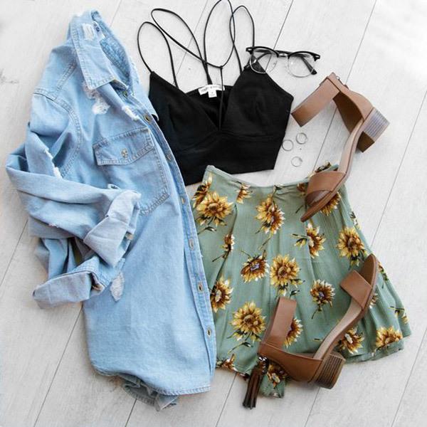 Cute Summer Flower Pattern Outfits