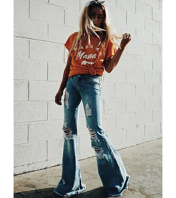 Denim Flare Pants Outfits