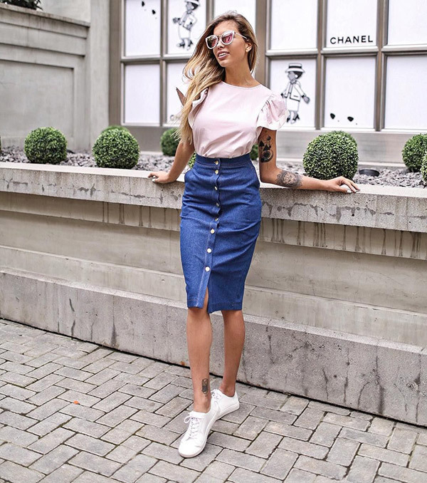 Denim Pencil Skirt Outfits