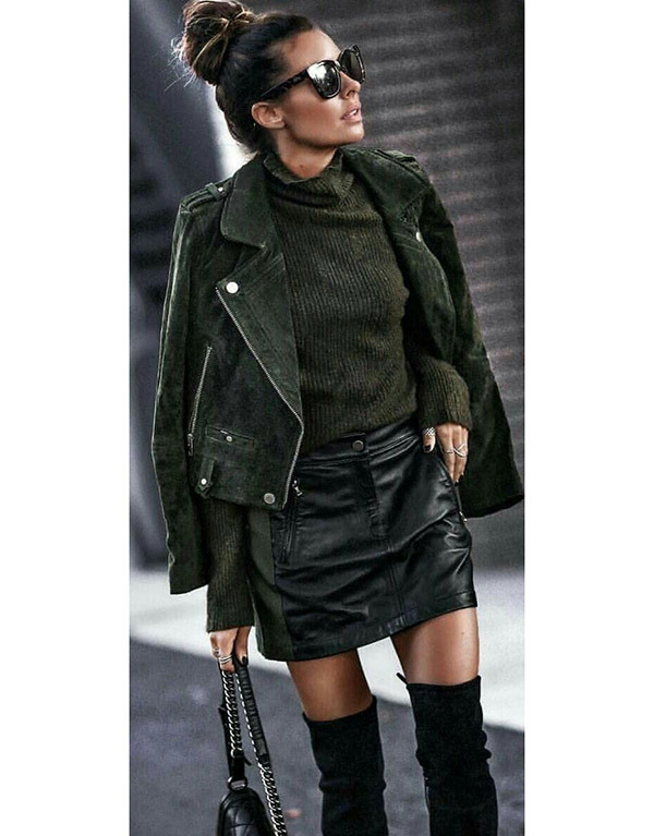 Leather Jacket with Skirt Outfits