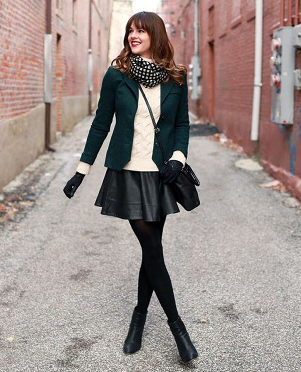 Leather Mini Skirt Outfits