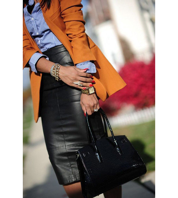 Leather Pencil Skirt Outfits