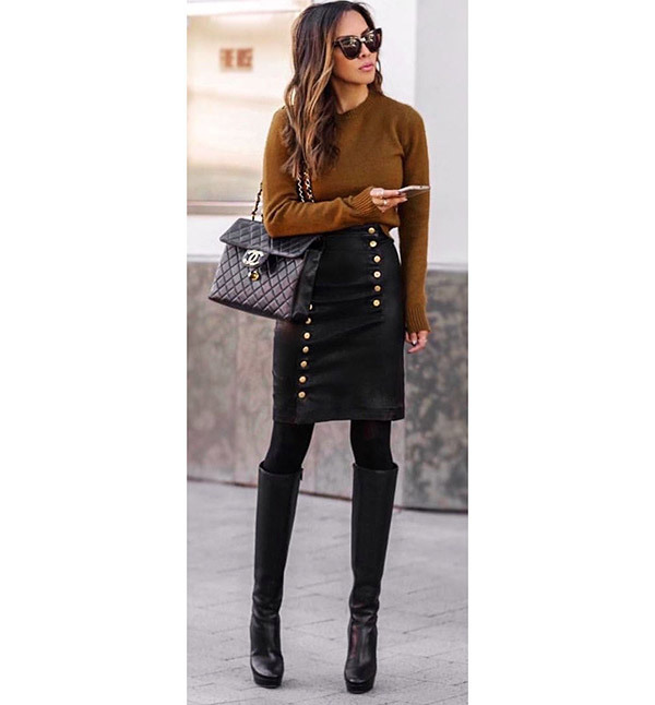 Leather Skirt Autumn Outfits