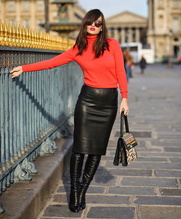 Leather Skirt Offıce Outfits