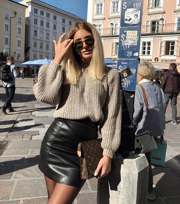 Leather Skirt Winter Outfits