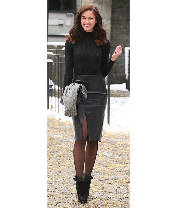 Leather Skirt Work Outfits