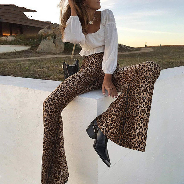 Leopard Flare Pants Outfits