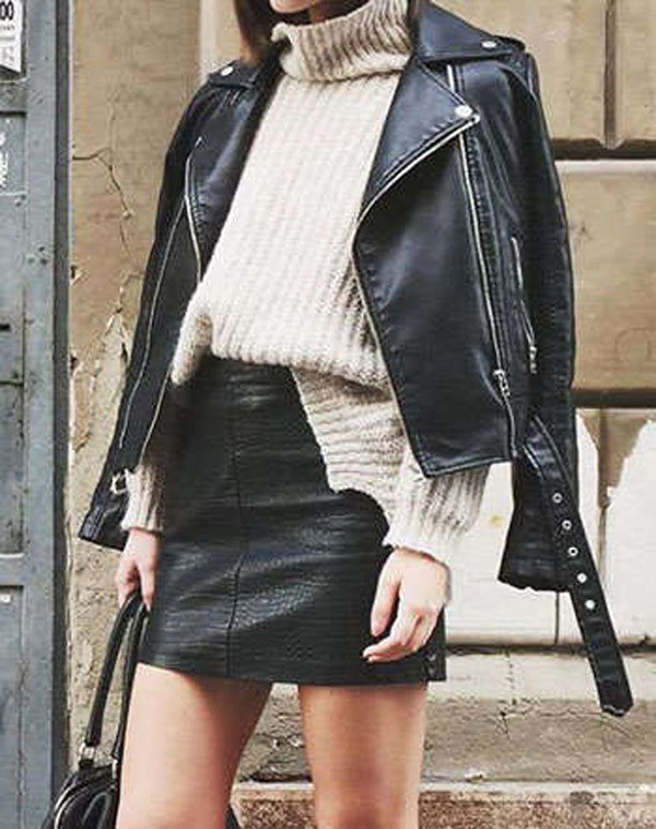 Outfits with Leather Skirt