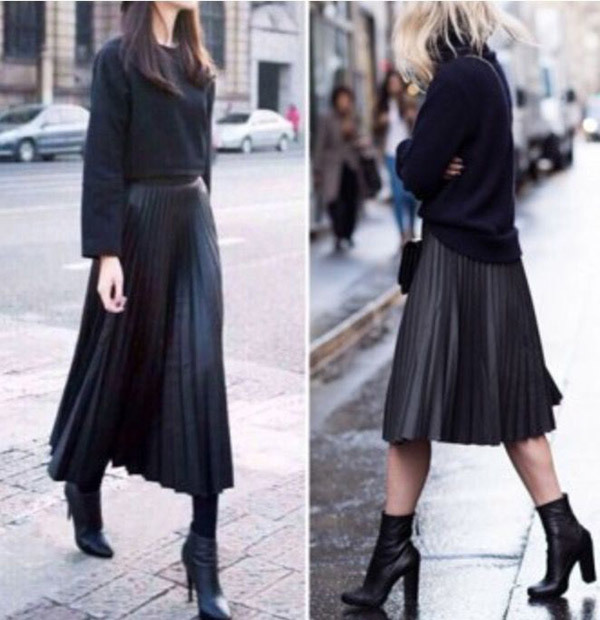 Short Leather Skirt Outfits