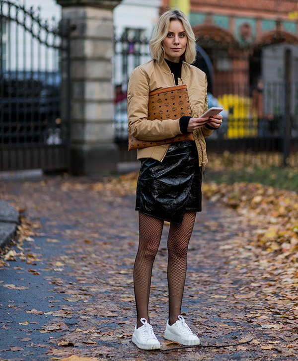 Street Style Leather Skirt Outfits